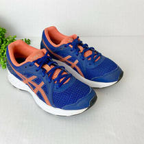 Asics Kids Boys Size 3.5 Blue Lace Up Blue and Orange Running Shoes Sneakers Photo