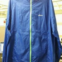 Asics Men's Packable Water/wind Resistant Reflectivity Jacket Blue Medium Photo
