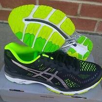 Asics Men's Running Shoes Gel Kayano 23 Black Silver Safety Yellow Size 10 Us Photo