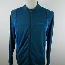 Asics Mens Stretch Polyester Ls Full Zip Two Tone Blue Activewear Track Jacket M Photo