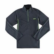 Asics New Gray Neon Mens Size 2xl Trainer 1/4 Zip Mesh Performance Jacket 40 Photo