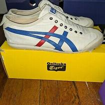 Asics Onitsuka Tiger Mexico 66 Slip on Size 10 Iconic White Red and Blue Sneaker Photo