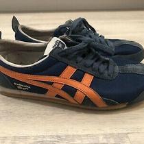 Asics Onitsuka Tiger Track Sneaker Leather Shoes Blue Orange Mens Sz 4.5 (B2) Photo