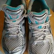 Asics Sz 9 1/2 So-Lyte  Gel  Womens Running Tennis Shoe White Turquoise Silver  Photo