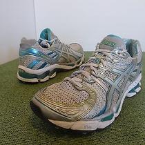 Asics T150n Gel Kayano 17 Women 8 White Silver Green Turquoise Teal Running Shoe Photo