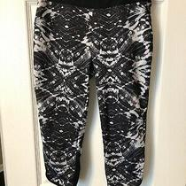 Asics Womens Cropped Athletic Pants Black Print Size Xs Photo