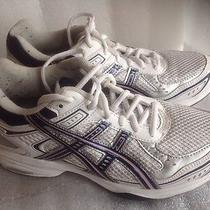 Asics Women's Gel-Express Size 8 Tennis Shoes  White W/navy Rubber Soles Photo