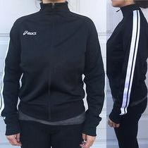 Asics Women's Hurdle Running Track Jacket Black Stripes Zippier Size Small Photo