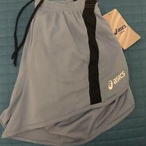 Asics Womens Small Blue Mid Length Running Athletic Shorts Built in Brief - Nwt Photo