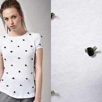 Asos Antipodium White Shirt Application 3d Black Small Roses Xs Photo