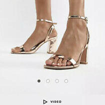 Asos Design Women Hong Kong Barely There Block Heel Sandals Rose Gold Size 9.5 Photo