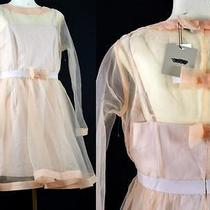 Asos Flirty Sheer Organdy Bow Back Long Sleeve Blush Cocktail Party Dress 10 New Photo
