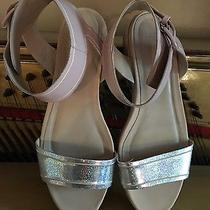 Asos Gorgeous Ankle Strap Blush Pink Metallic Silver Block Heel Sandal Shoe 7.5 Photo