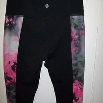Athleta Bloom Pink Floral Tights Pants Size M Black Training Fitness Yoga Run Photo