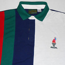 Atlanta 1996 Olympic Games Collection Striped Polo Shirt L Large Avon 100 Photo