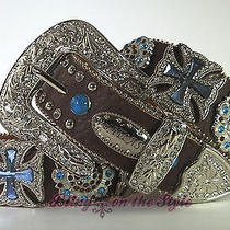 Atlas Western Leather Belt Rhinestone Flower Concho Maltese Cross Cowgirl Prism Photo