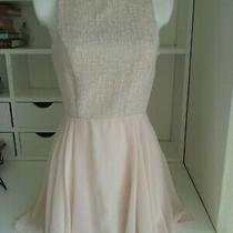 Atmosphere Blush Sleeveless Short Dress Chiffon Skirt Gold Fleck Top Size 10 Photo