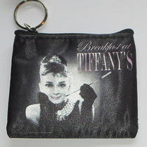 Audrey Hepburn Coin Purse Breakfast at Tiffany's Black White Pink Tiara Key Ring Photo