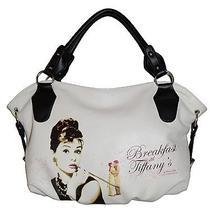 Audrey Hepburn Signature Breakfast at Tiffanys Licensed White Hobo Purse Handba Photo