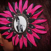 Audrey Hepburn Zombie Breakfast at Tiffany's Large pink&black Cameo Hair Flower  Photo