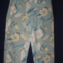August Silk Pastel Soft Hawaiian Print Capri Pants L Photo