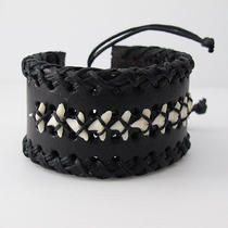 Autehntic Shark Tooth Fossil Womens Mens Black Leather Bracelets Wristband New Photo