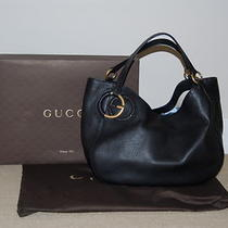 Autentic Gucci Twill Leather Large Shoulder Bag Black Photo
