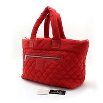 Auth 100% Chanel Coco Cocoon Large Nylon Tote/shoulder Bag Rouge Vintage 013003 Photo
