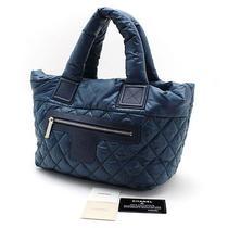 Auth 100% Chanel Coco Cocoon Small Nylon Tote/shoulder Bag Bule Vintage (012990) Photo
