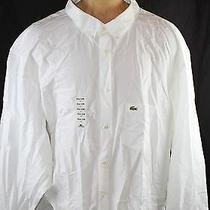 Auth 115 Lacoste Men's White Long Sleeve Big and Tall Shirt 6xl Photo