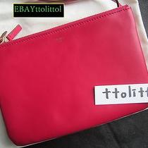 Auth 2014 New Celine Trio Fuchsia Small Clutch Crossbody Bag  Rare   Receipt Photo
