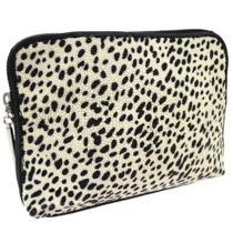 Auth 3.1 Philip Lim Cosmetic Bag Pouch Animal Print Beads Black Leather Jz00766 Photo
