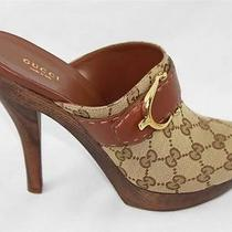 Auth 695 Gucci Women Gg Guccissima Clogs Sandal Heel Shoes 39.5 Photo