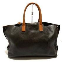 Auth Akris Darkbrown Orange Leather Tote Bag Photo