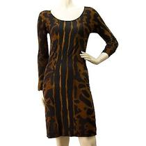 Auth Alexander Mcqueen Bodycon Knee Length Animal Print Brown Dress Size 38 Photo