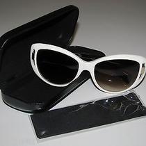 Auth Alexander Mcqueen Cat-Eye White/black Keyhole Sunglasses Italy  Photo