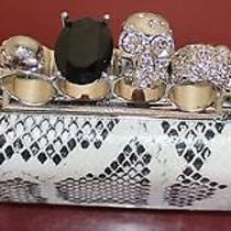 Auth  Alexander Mcqueen White Python Silver Knuckle Duster Skull Box Clutch  Photo