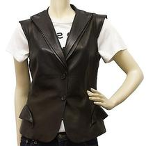 Auth Alexander Mcqueen Women's Black Leather Gillet Vest Top Rock & Sexy It 40 Photo