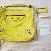 Auth Balenciaga 2008 Bouton d'or Neon Yellow Day Hobo Leather Bag Purse Rare Htf Photo