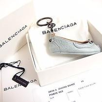 Auth Balenciaga Ballet Flat Shoe Motif Key Ring Holder Pale Blue Made in Italy Photo