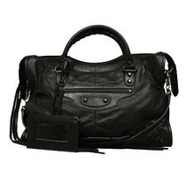Auth Balenciaga Black Lambskin Leather Motorcycle Handbag Tote Man Bag Msrp 2200 Photo