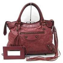 Auth Balenciaga Leather the Town Handbag Tote Bag Wine Red Photo