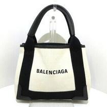Auth Balenciaga Navy Cabas Xs 390346 Cream Black Canvas Leather Tote Bag Photo