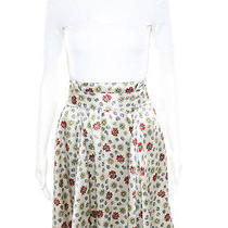 Auth Balenciaga Off-White Silk Floral Print Bow Tie Pleated Skirt Eur Sz 38 Photo