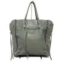 Auth Balenciaga Papier A5 357330 Light Blue Leather Tote Bag Photo