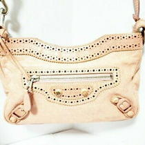 Auth Balenciaga Shoulder Bag the Hip 245080 Pink Beige Leather 7351 Photo