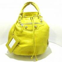 Auth Balenciaga Tote Bag Giant Pom 285440 Yellow Leather 5414 Photo