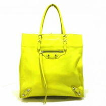 Auth Balenciaga Tote Bag the Paper A5 338582 Yellow Leather 5355 Photo