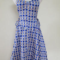 Auth Betsey Johnson Blue Gingham Rose Print Corset Laced Retro Shift Dress Sz 6 Photo