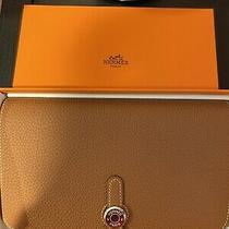 Auth Bnib Hermes Dogon Gm Taurillon Clemence Gold Brown Long Wallet/clutch. Photo